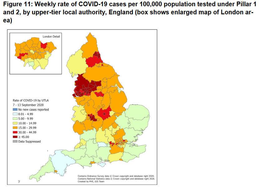 hotspots in North West, Birmingham. Also high in North East, London, Midlands